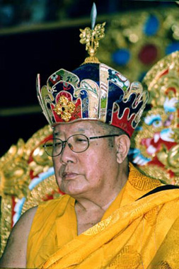 Mugsang Kuchen Rinpoche Photo of His Holiness Penor Rinpoche with Lotus Hat